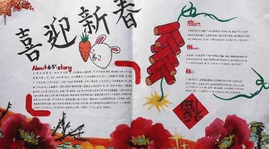 2020最新鼠年春节手抄报儿童画简单又漂亮